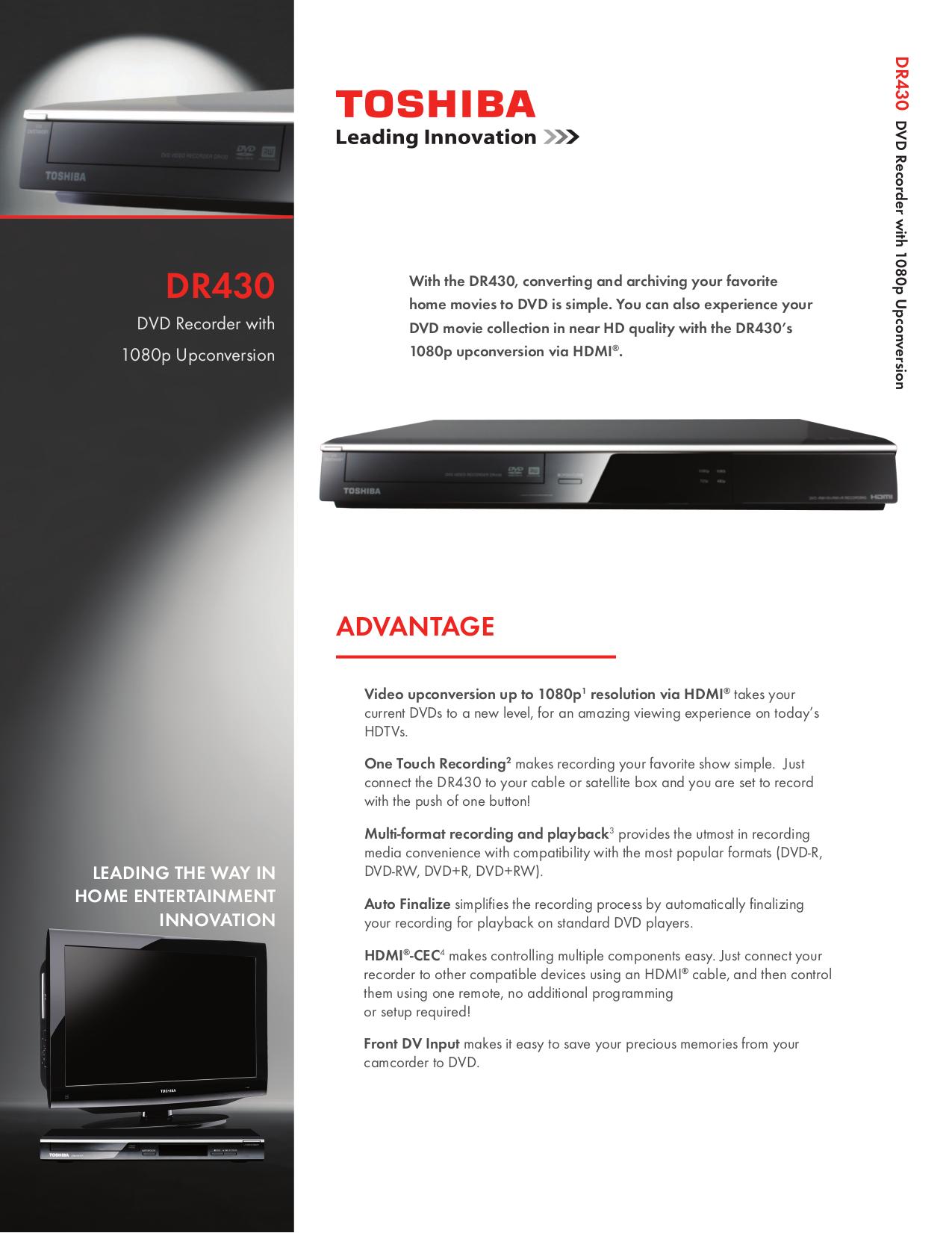 download free pdf for toshiba dr430 dvd players manual rh umlib com Toshiba DVD Recorder HD Toshiba DVD Recorder Inputs Outputs