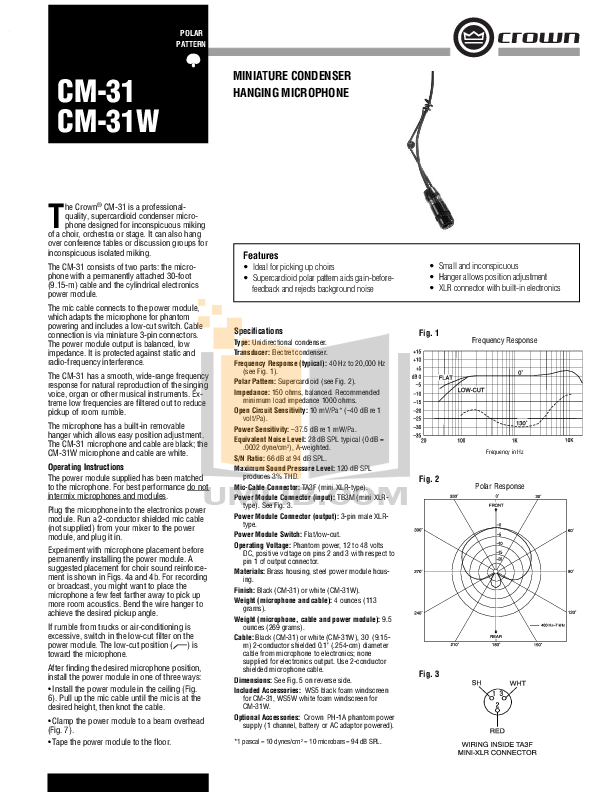 pdf for Crown Other CM-31 Microphones manual