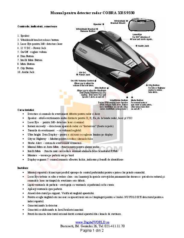 Spx900 radar detector user manual 2 cobra electronics corporation.