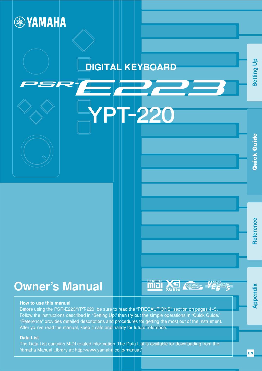 Psr-e233/ypt-230 owner's manual yamaha downloads.