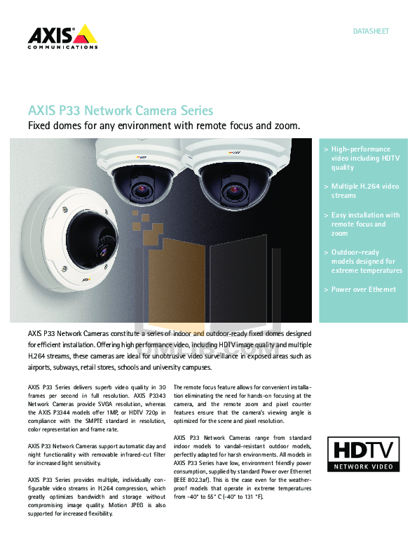 pdf for Axis Security Camera P3343-VE manual