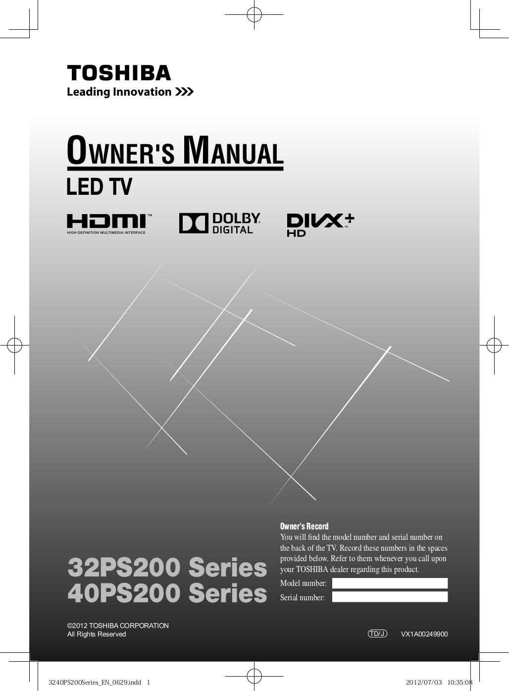 Download free pdf for Toshiba W512 VCR manual
