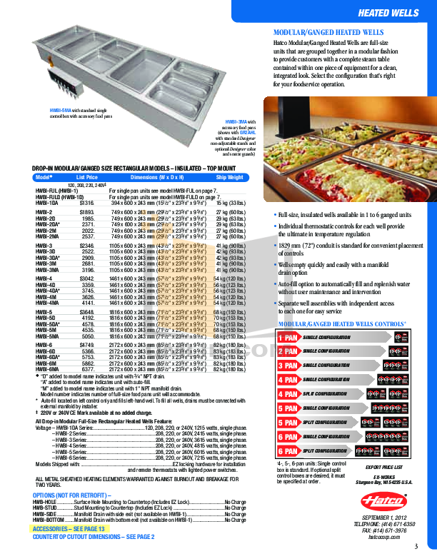 Hatco Other HWB-11QTD pdf page preview