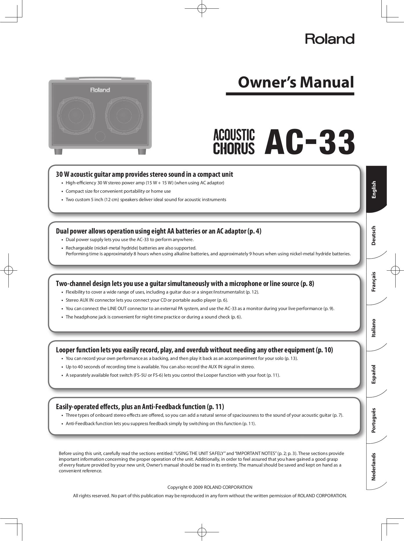 download free pdf for roland ac 33 amp manual. Black Bedroom Furniture Sets. Home Design Ideas