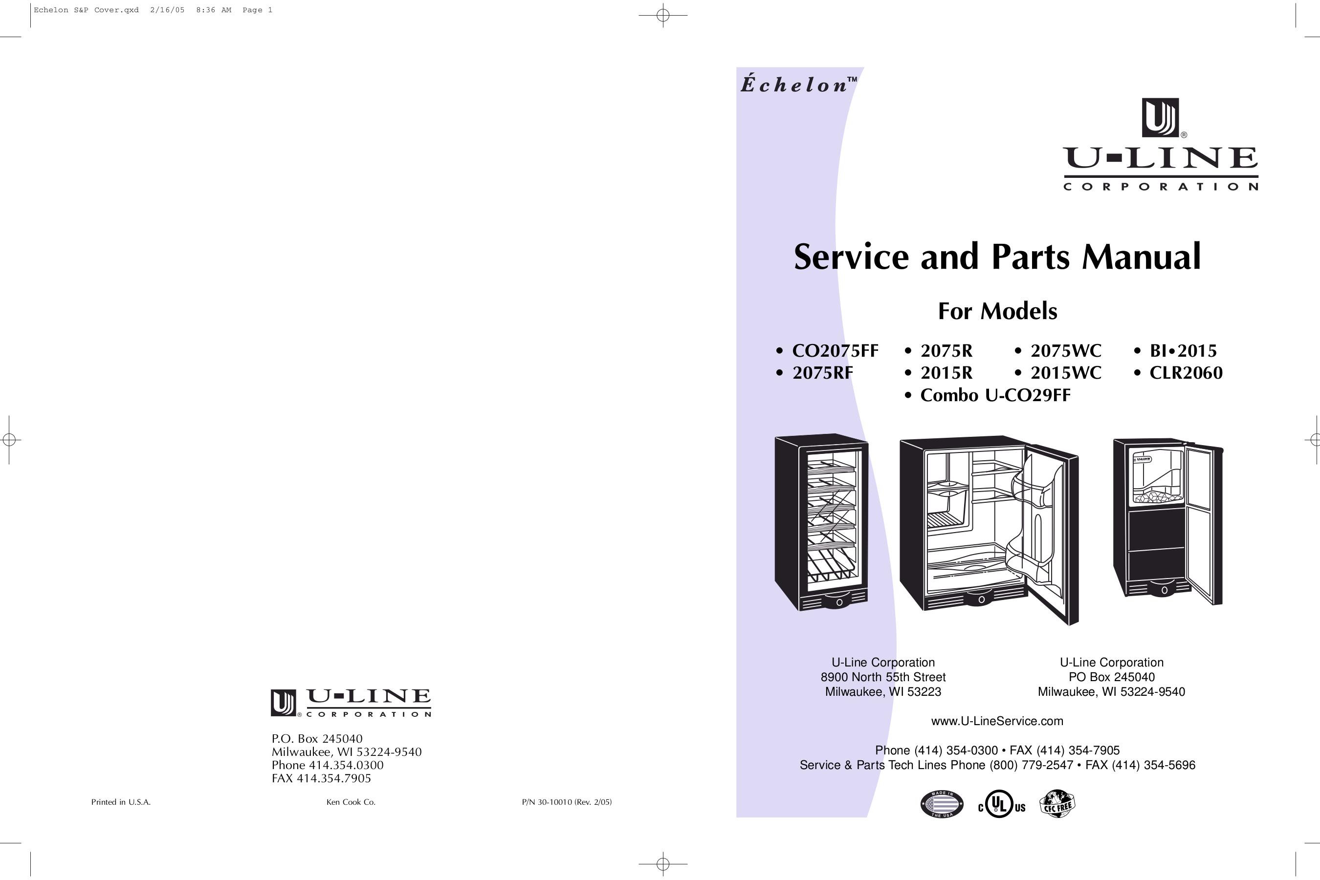 pdf for U-Line Refrigerator Echelon 2075R manual