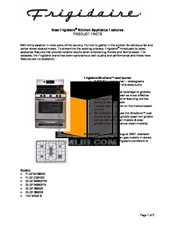 pdf for Frigidaire Range GLEFZ388GC manual