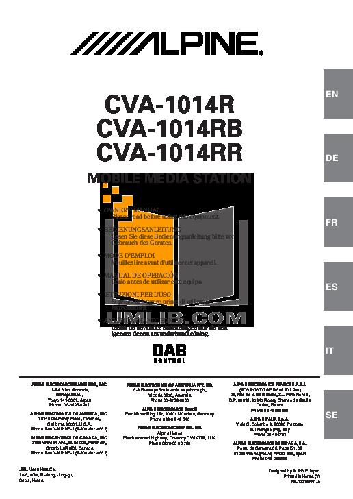 pdf for Alpine Car Video CVA-1014 manual