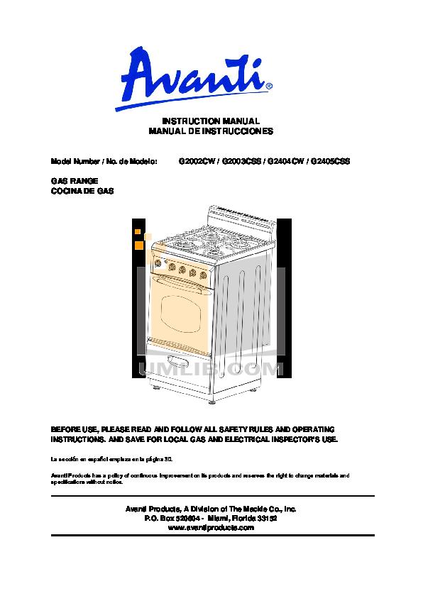 pdf for Avanti Range G2002CW manual