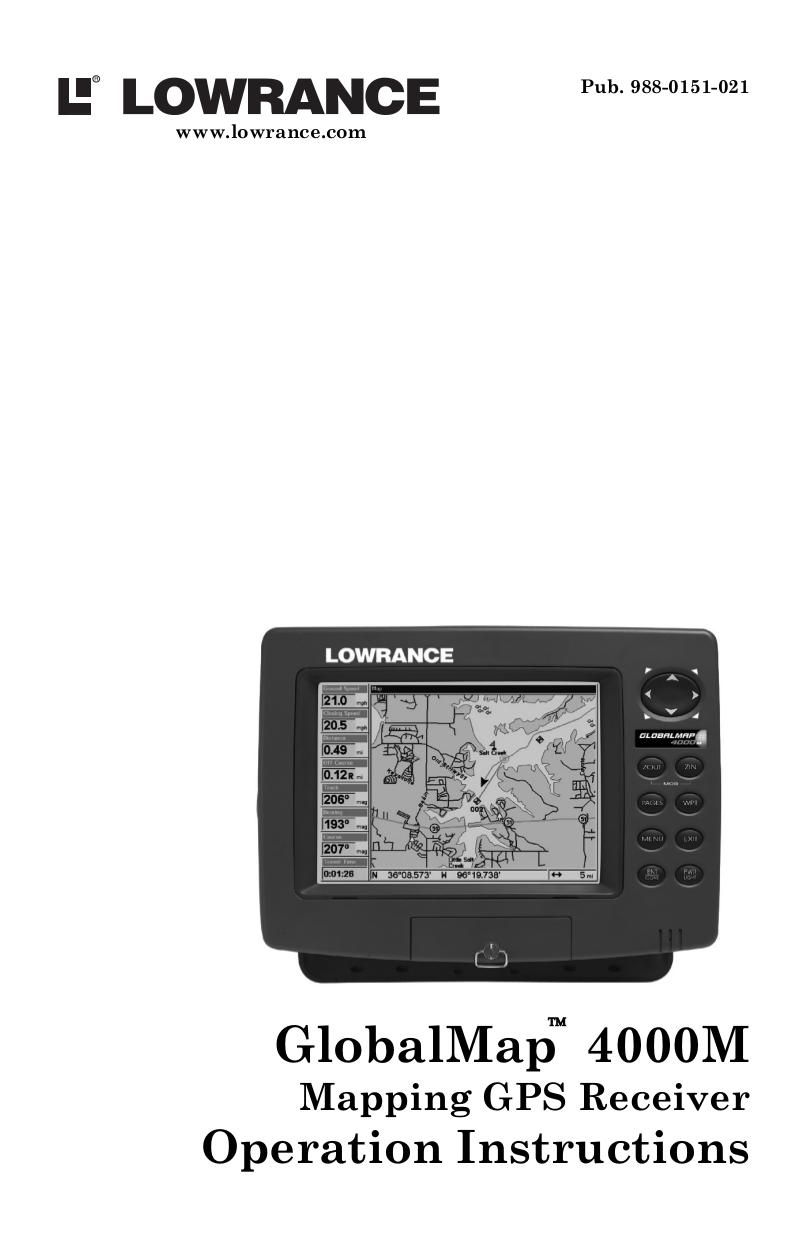 pdf for Lowrance GPS GlobalMap 4000M manual