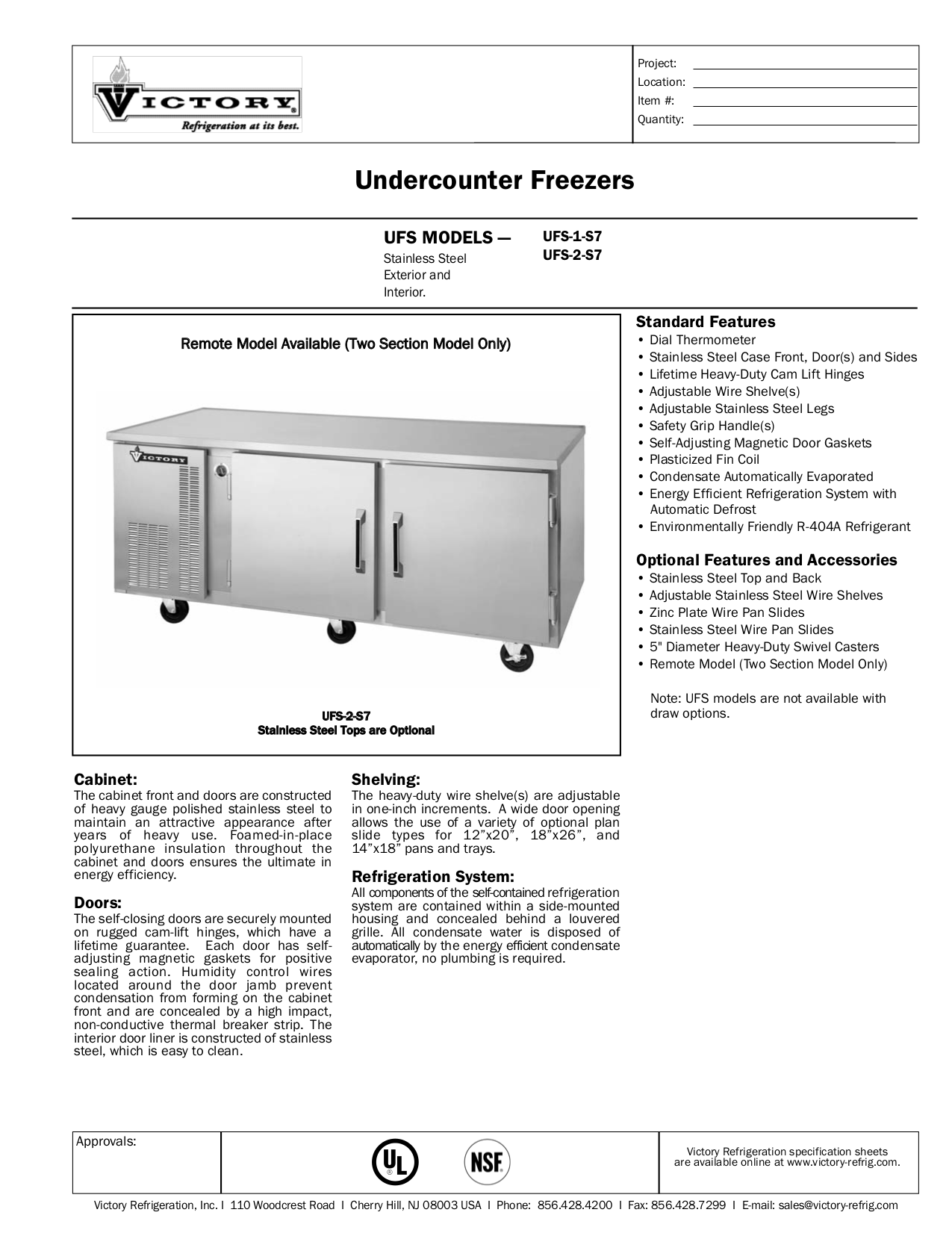 pdf for Victory Freezer UFS-2-S7 manual