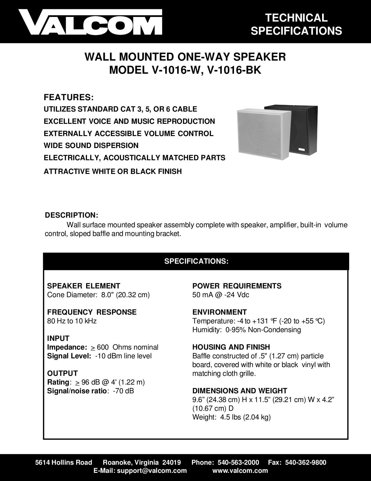 pdf for Valcom Speaker V1016 manual