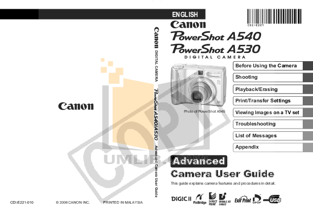 pdf for Canon Digital Camera Powershot A530 manual