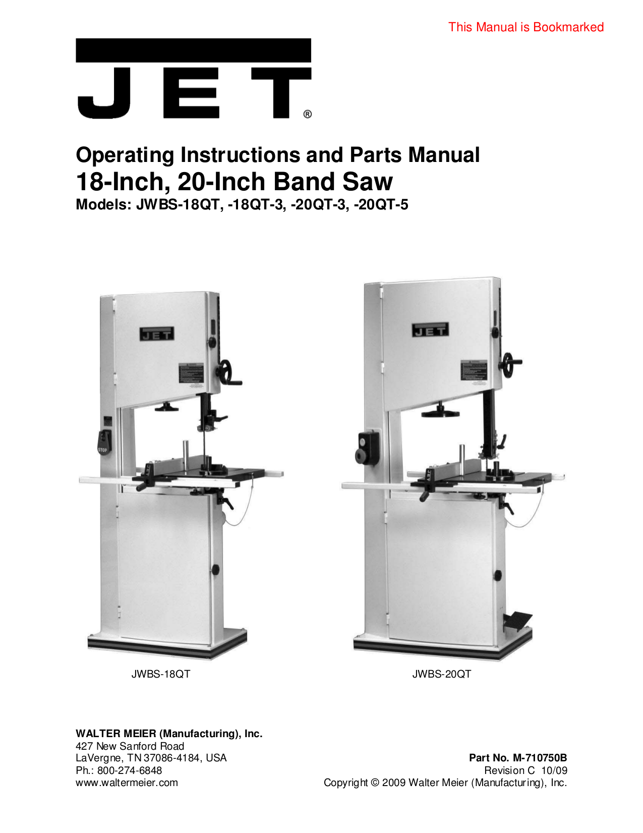pdf for Jet Other JWBS-18X Bandsaw manual