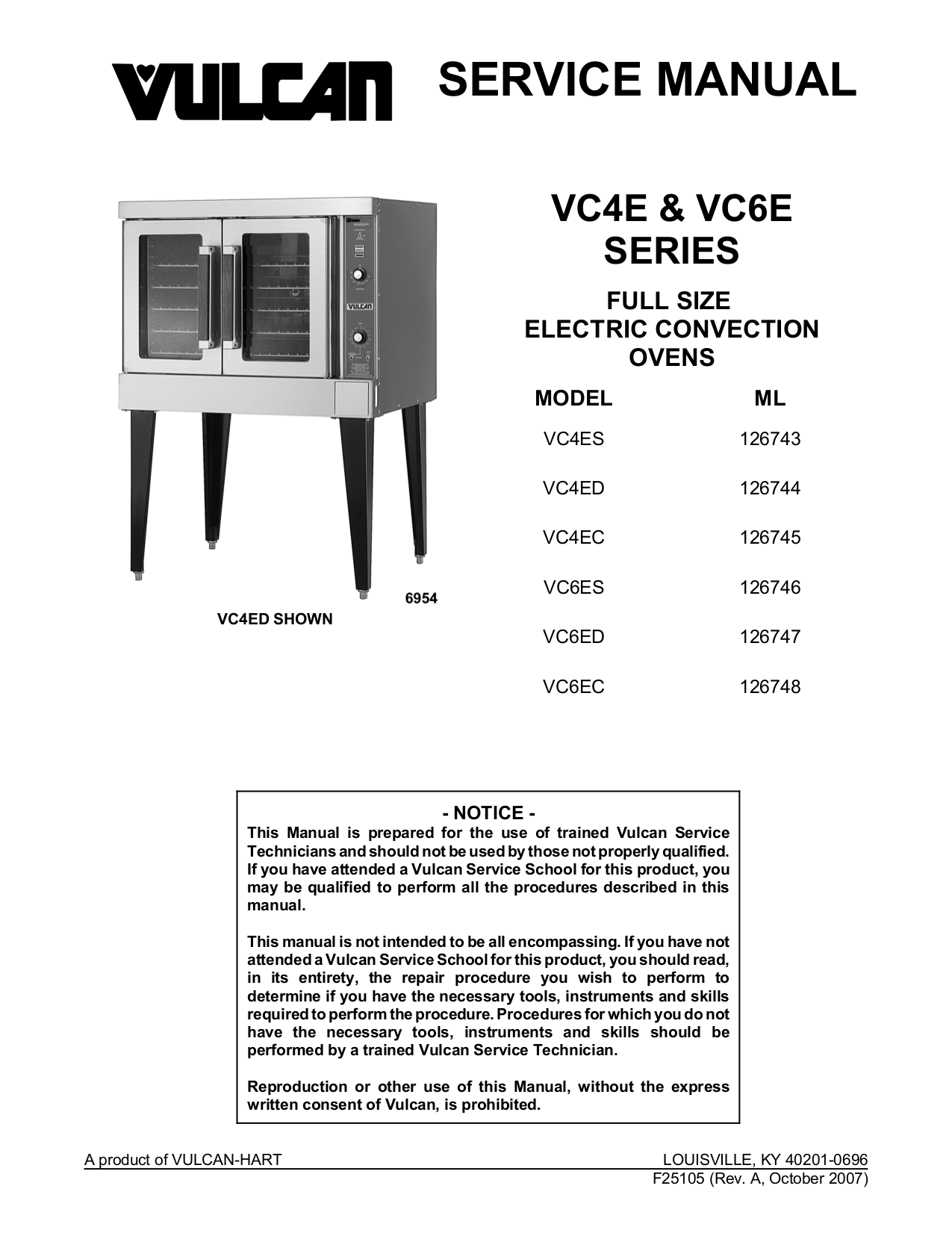 pdf for Vulcan Oven VC6ES manual