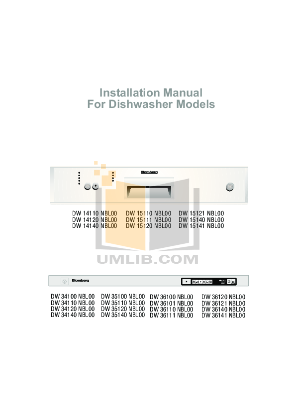Blomberg Dishwasher DW34110 pdf page preview