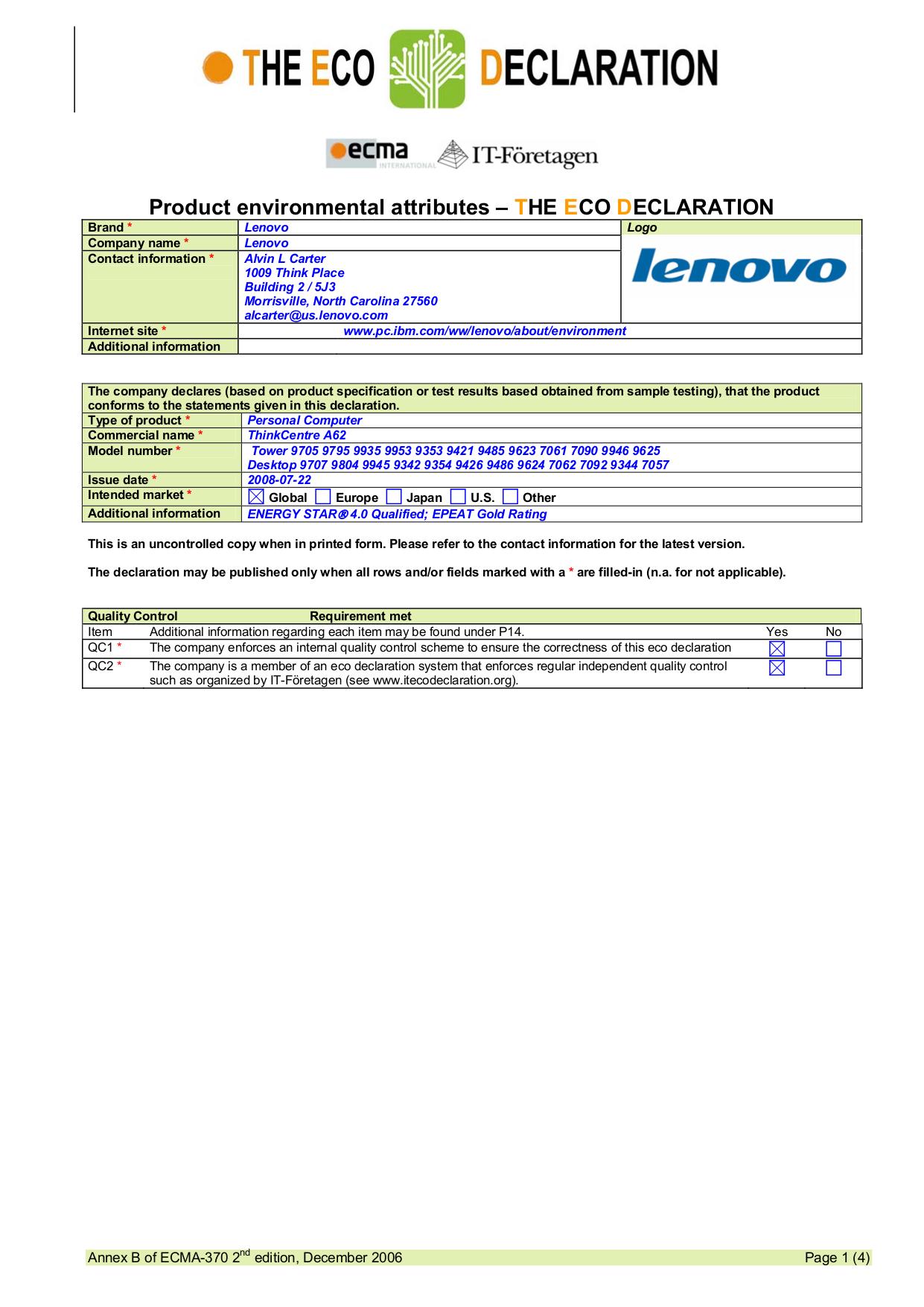 pdf for Lenovo Desktop ThinkCentre A62 9623 manual
