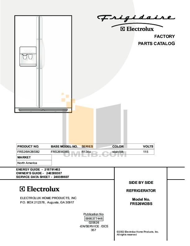 pdf for Frigidaire Refrigerator FRS26W2BSB2 manual