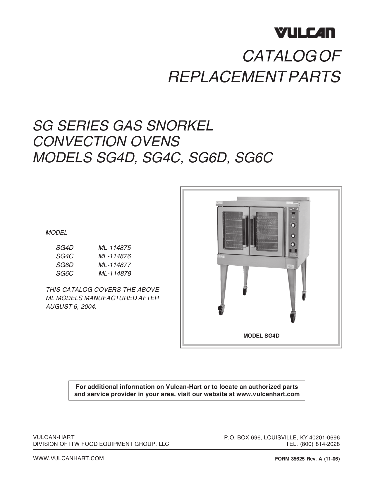 pdf for Vulcan Oven SG6C manual