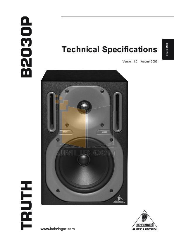 pdf for Behringer Speaker B2030P manual