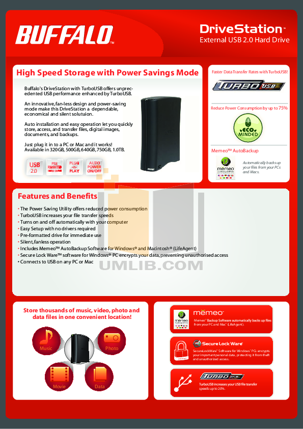 pdf for Buffalo Storage HD-CE1.0TIU2 manual
