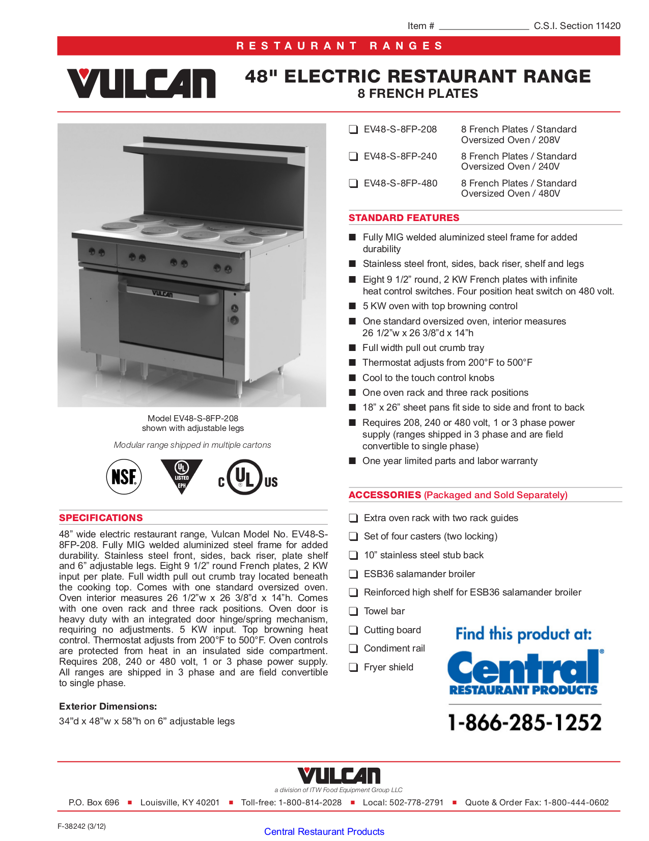 pdf for Vulcan Oven ESB36 manual