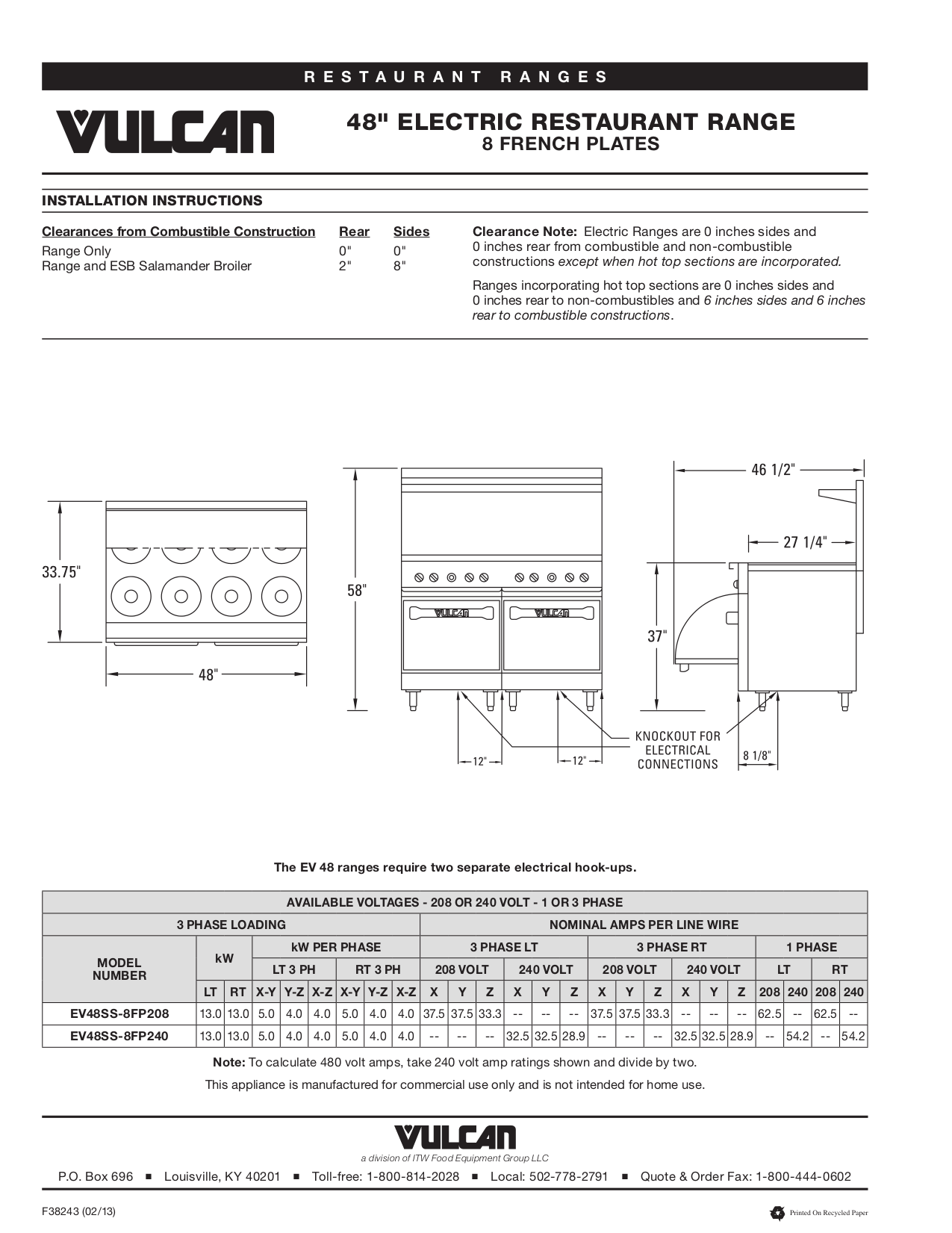 Vulcan Oven ESB36 pdf page preview