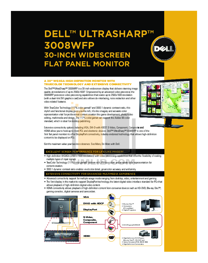 pdf for Dell Monitor UltraSharp 3008WFP manual