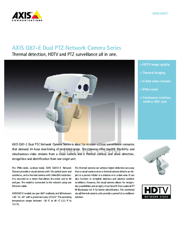 pdf for Axis Security Camera Q1921-E manual