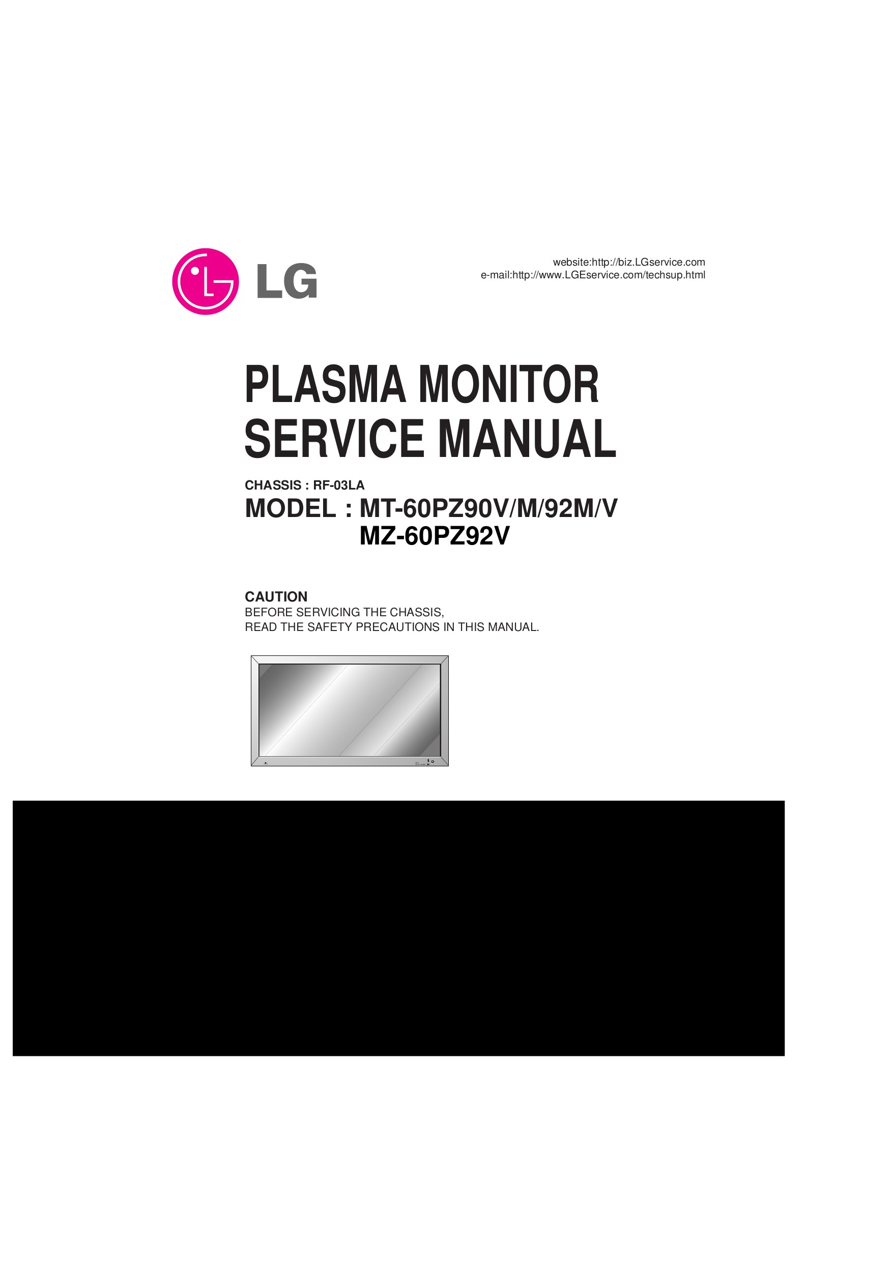 pdf for LG Monitor MU-60PZ90S manual