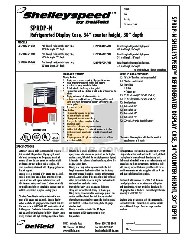 pdf for Delfield Refrigerator Shelleyspeed SPRD60P-74N manual