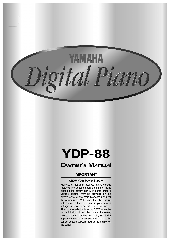 pdf for Yamaha Music Keyboard YDP-88 manual