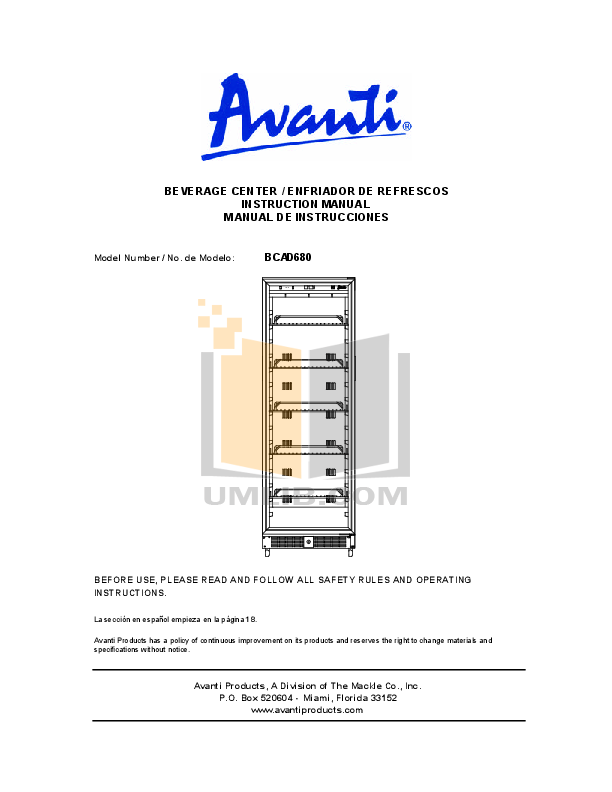 pdf for Avanti Refrigerator BCAD680 manual
