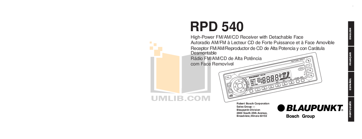 pdf for Blaupunkt Other RPD540 Car-audio manual