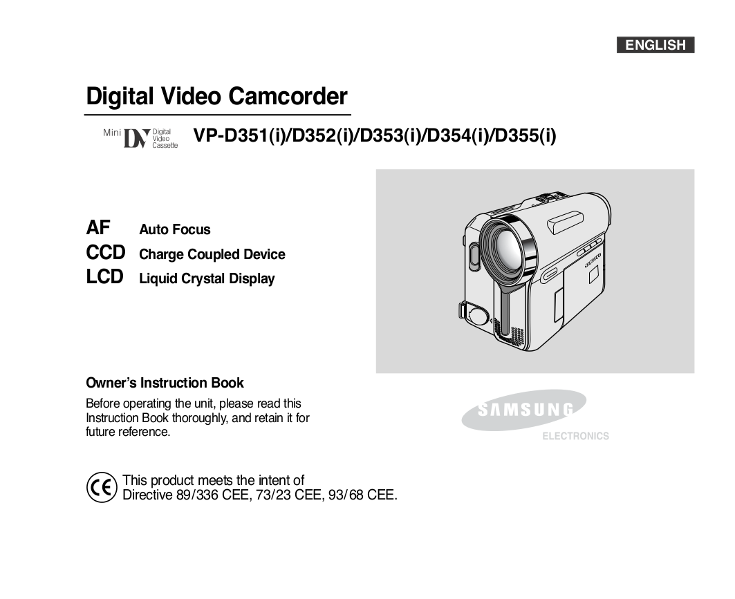 pdf for Samsung Camcorders VP-D353 manual