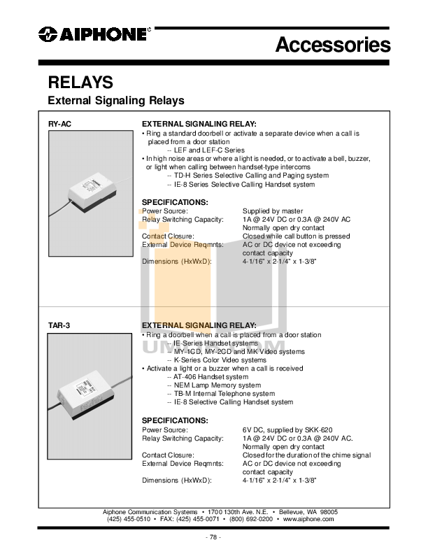 pdf for Aiphone Other MAW-B Intercoms-Accessory manual