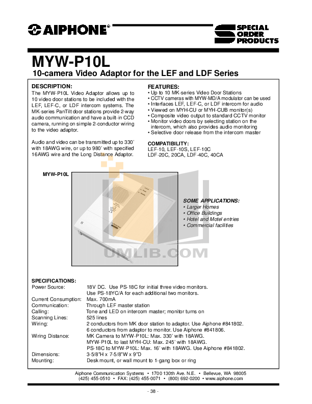 pdf for Aiphone Other MK-DAC Intercoms manual