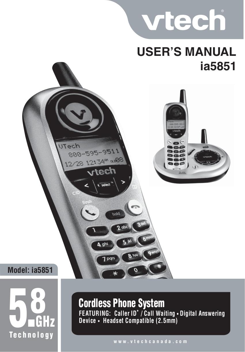 pdf for Vtech Telephone ia5851 manual