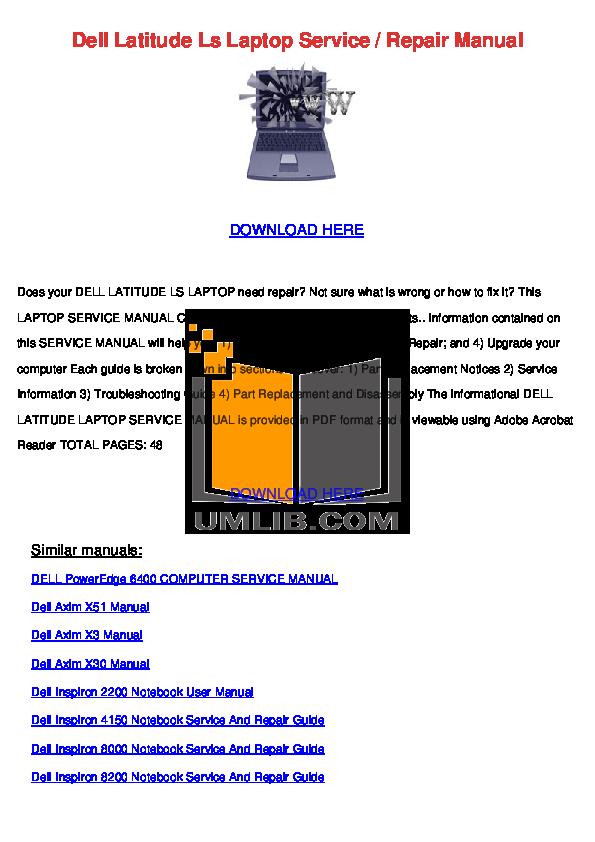 download free pdf for dell inspiron 8200 laptop manual rh umlib com HP Owner Manuals Service ManualsOnline
