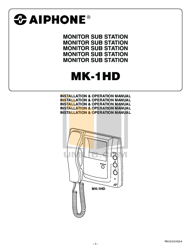 pdf for Aiphone Other MK-1HD Intercoms manual