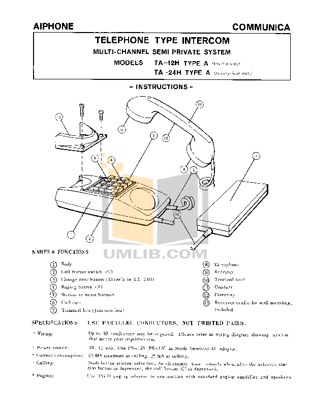 pdf for Aiphone Other TA-12H Intercoms manual