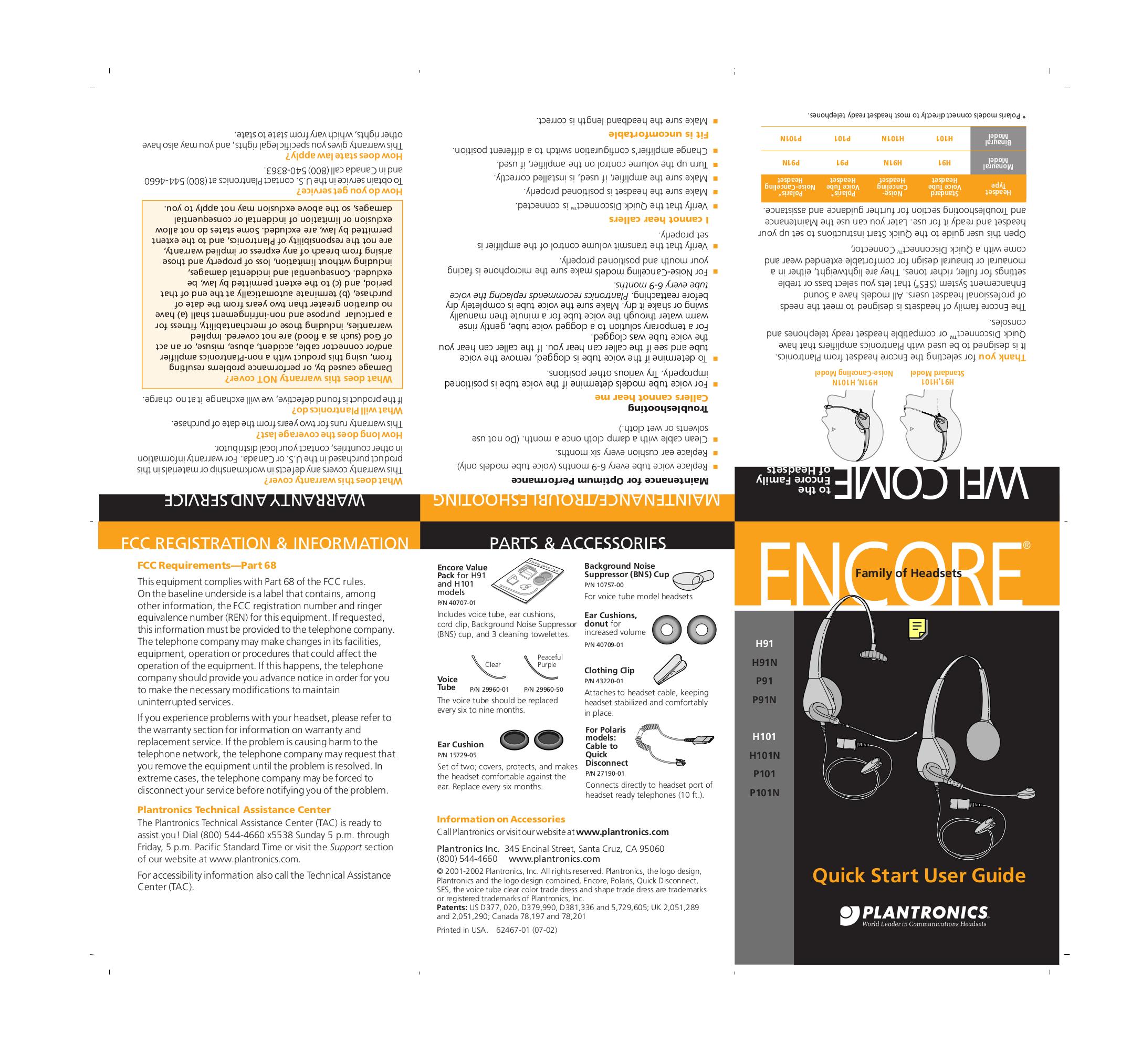 Download free pdf for Plantronics Encore H101 Headset manual