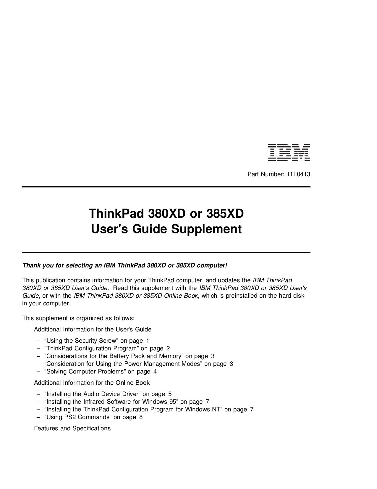 pdf for IBM Laptop ThinkPad 380 manual