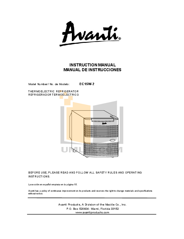 pdf for Avanti Refrigerator SHP1712SDC manual