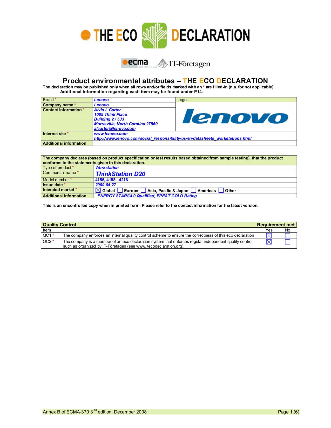 pdf for Lenovo Desktop ThinkStation D20 4155 manual