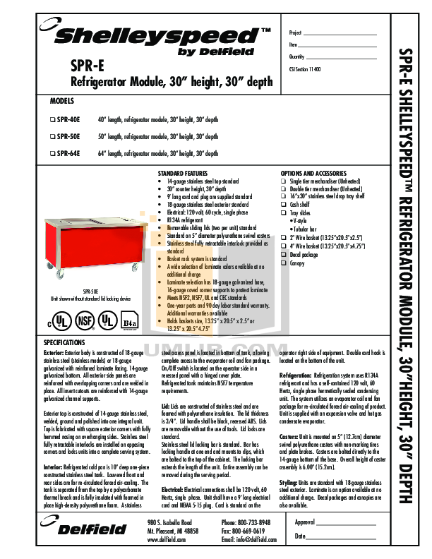 pdf for Delfield Refrigerator Shelleyspeed SPR-50E manual
