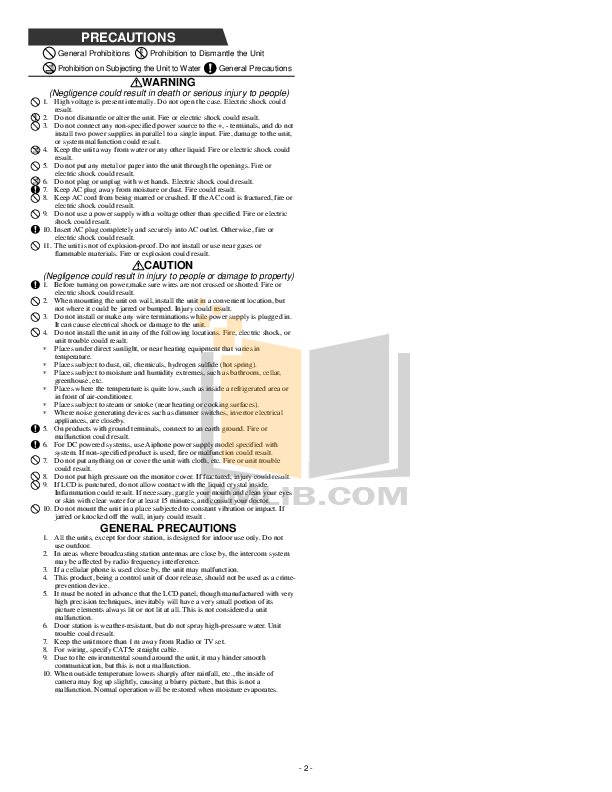 Aiphone Other AX-DV-P Intercoms pdf page preview