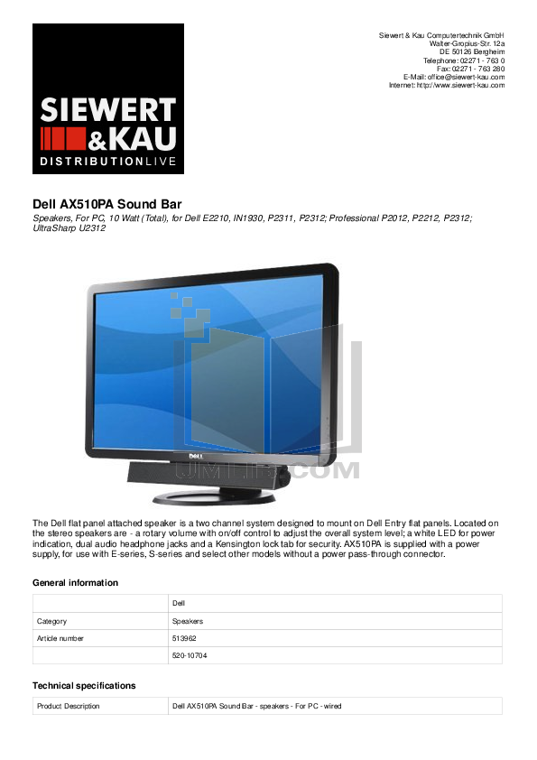 pdf for Dell Monitor P170ST manual