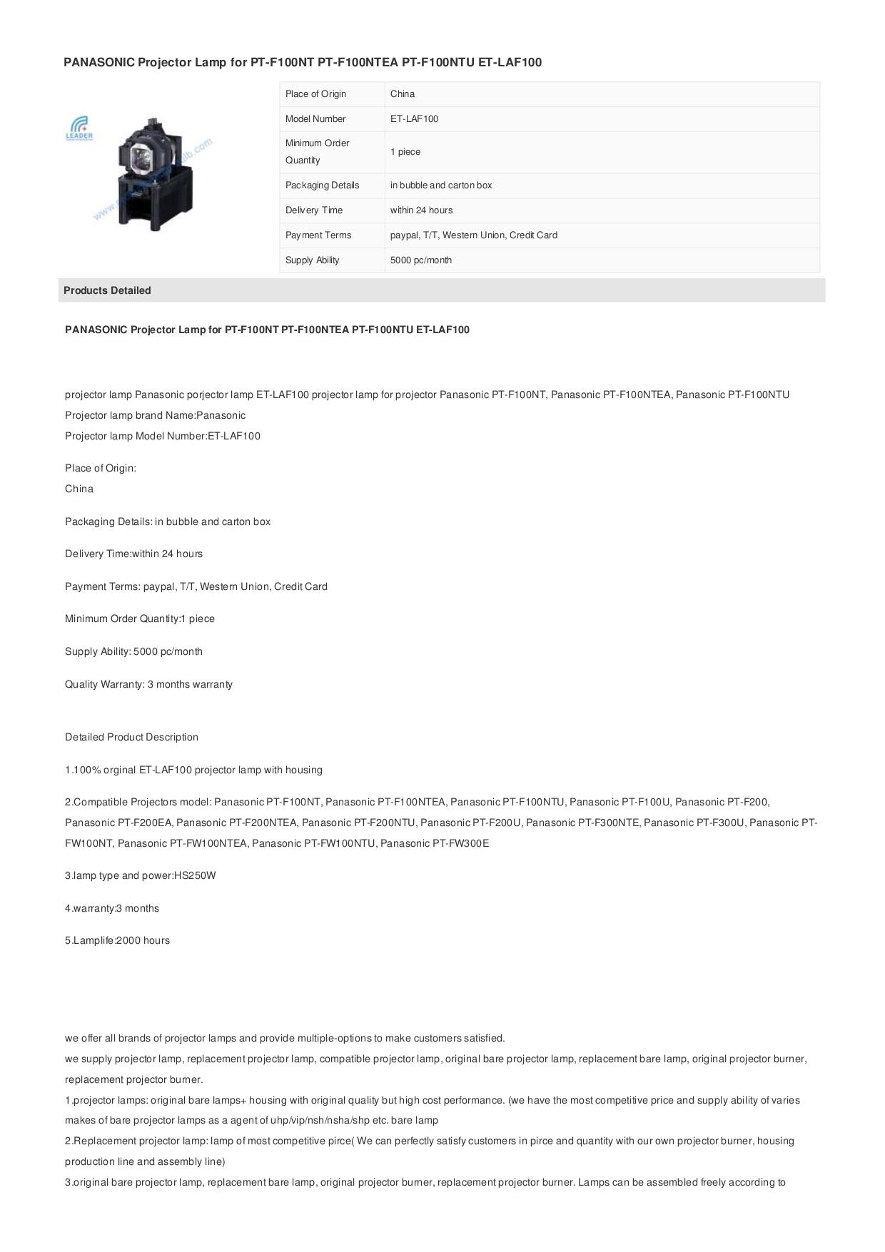 pdf for Panasonic Projector PT-F200NTEA manual