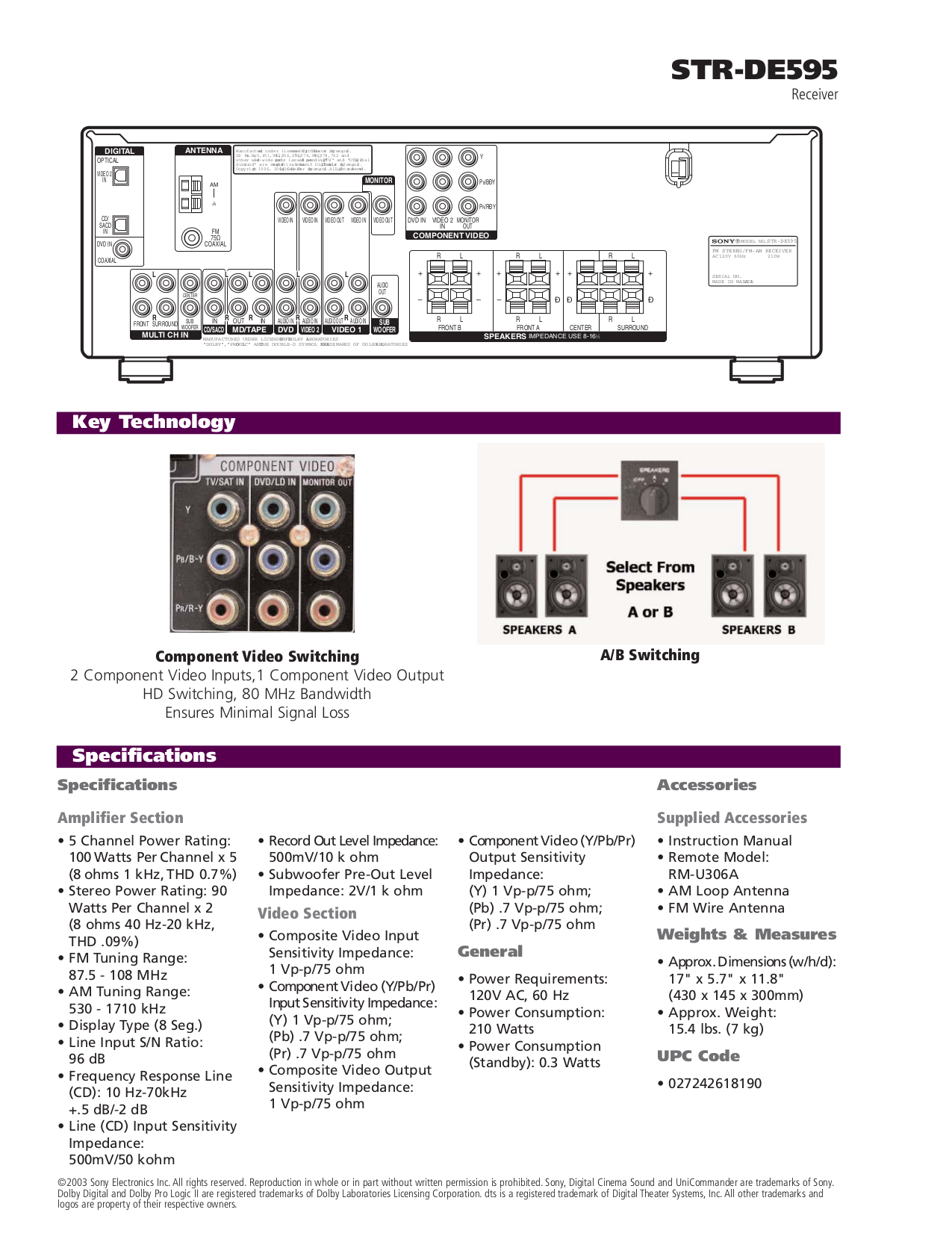pdf manual for sony receiver str de595 rh umlib com Sony STR- DE585 ATV to Sony STR De595