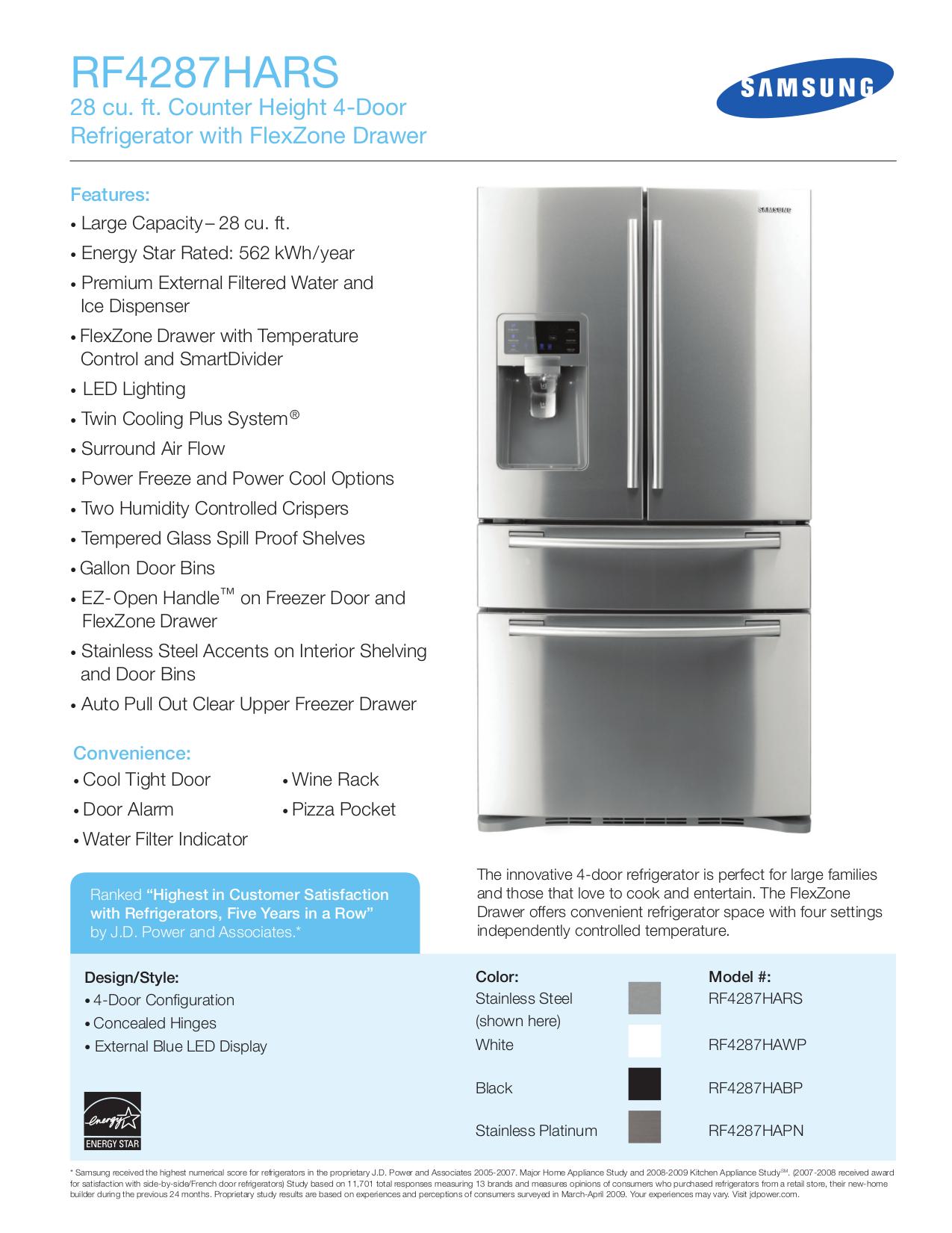 pdf for Samsung Refrigerator RF4287HA manual